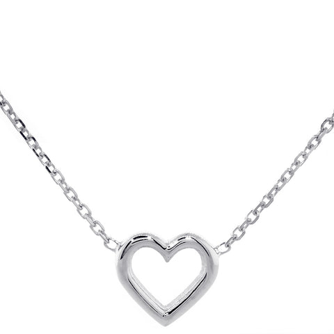 10mm Open Heart Charm and Chain in 14K White Gold