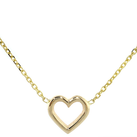 10mm Open Heart Charm and Chain in 14K Yellow Gold