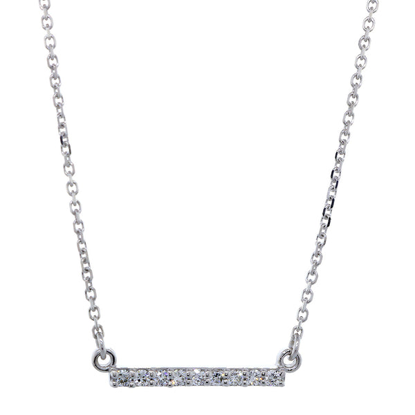 15mm Diamond Bar Necklace, 0.13CT in 14K White Gold
