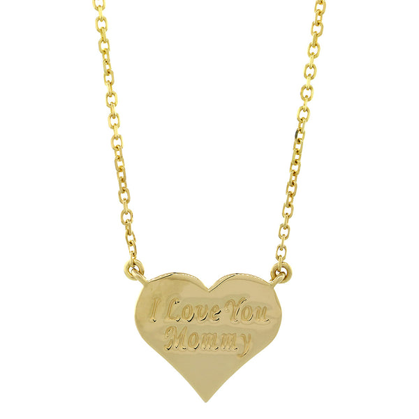 14mm I Love You Mommy Heart Charm and Chain in 14K Yellow Gold