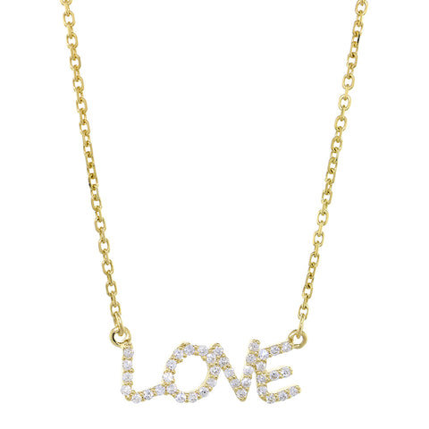 19mm Diamond LOVE Pendant Nameplate and Chain, 0.25CT in 14K Yellow Gold