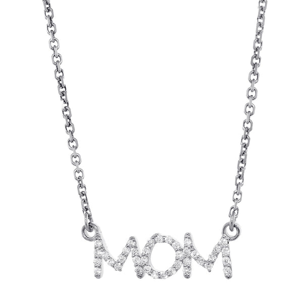 19mm Diamond MOM Pendant Nameplate and Chain, 0.24CT in 14K White Gold
