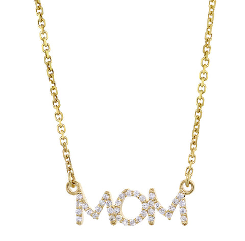 19mm Diamond MOM Pendant Nameplate and Chain, 0.24CT in 14K Yellow Gold
