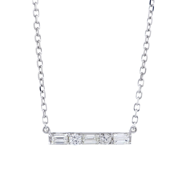 Diamond Bar Necklace, Rounds and Baguettes, 0.92CT, 16 Inches in 14K White Gold