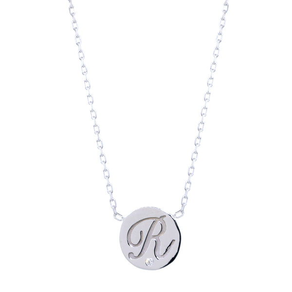 Personalized Initial Disc Necklace, 0.01CT Diamond, Bottom Center, 18 Inch in 14K White Gold