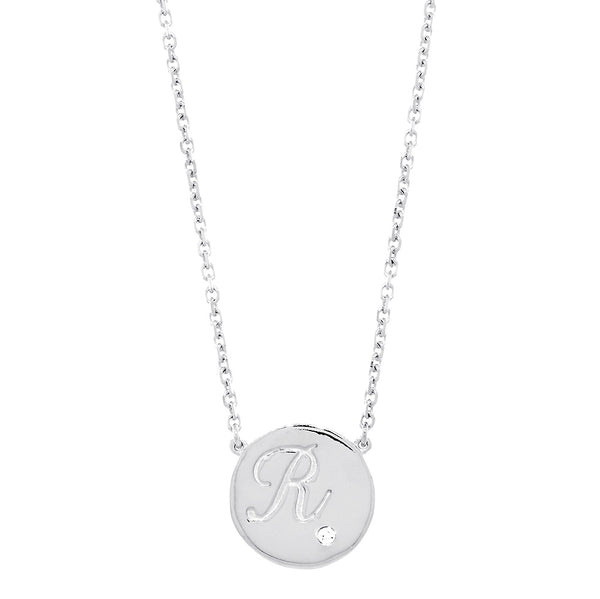 Personalized Initial Disc Necklace, 0.01CT Diamond, Bottom Right, 18 Inch in 14K White Gold