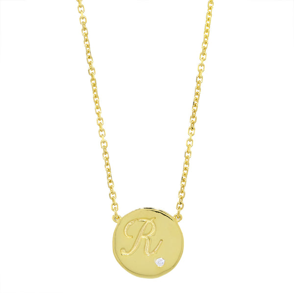 Personalized Initial Disc Necklace, 0.01CT Diamond, Bottom Right, 18 Inch in 14K Yellow Gold