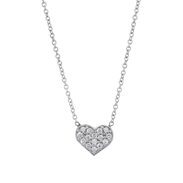 7mm Diamond Heart Necklace, 0.15CT, 16 Inches in 14K White Gold