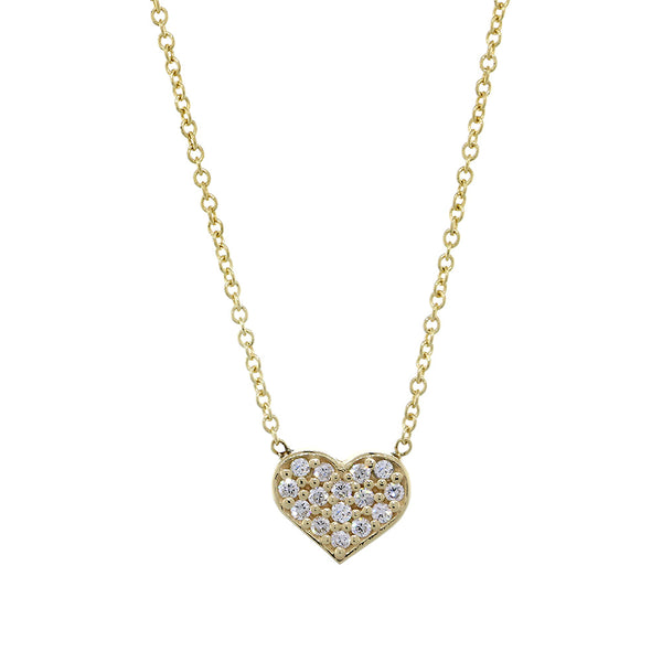7mm Diamond Heart Necklace, 0.15CT, 16 Inches in 14K Yellow Gold