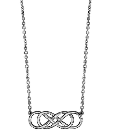 Medium Double Infinity Symbol Charm Necklace in Sterling Silver