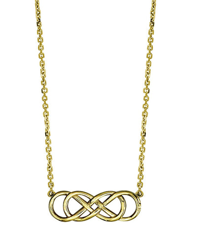 Medium Double Infinity Symbol Charm Necklace in 14k Yellow Gold