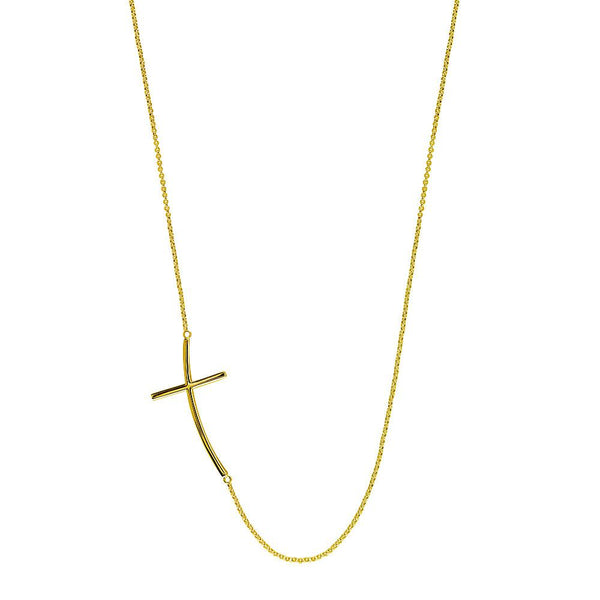 Curved Offset Christian Cross Necklace in 14K Yellow Gold