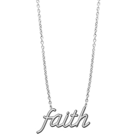 "Faith Necklace in 14K White Gold, 17"" Total Length"