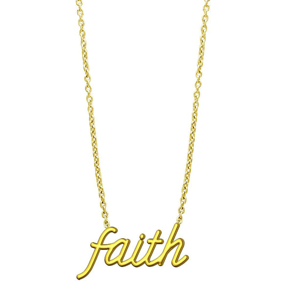 "Faith Necklace in 14K Yellow Gold, 17"" Total Length"
