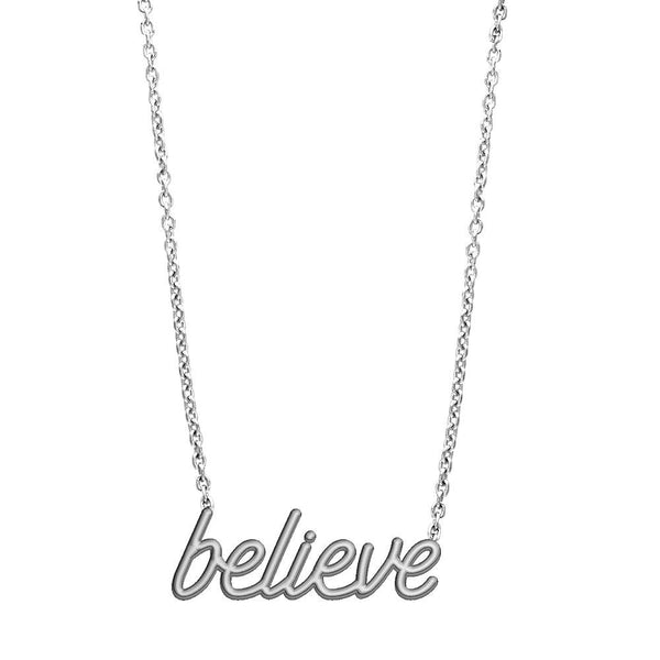 Believe Necklace in 14K White Gold