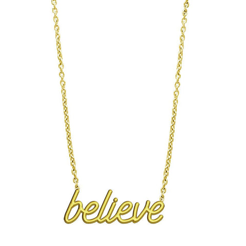 "Believe Necklace in 14K Yellow Gold, 17"" Total Length"