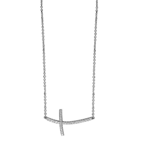 "Diamond Curved Cross Necklace in 14K White Gold, 17"" Total Length"
