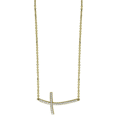 "Diamond Curved Cross Necklace in 14K Yellow Gold, 17"" Total Length"
