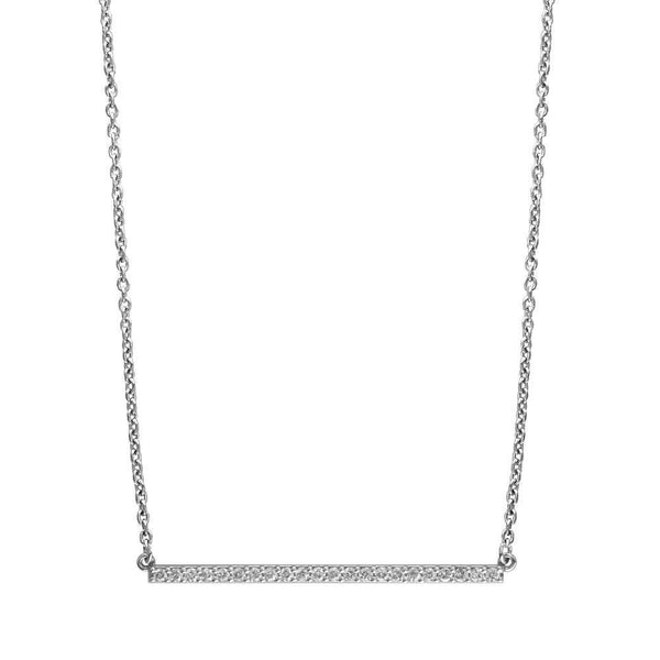 Diamond Bar Necklace, 2 Inches, 0.65CT in 14K White Gold