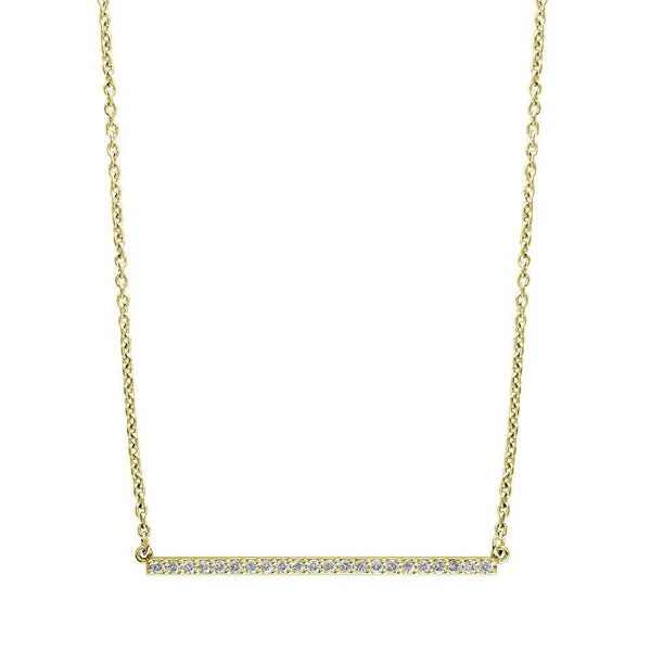 Diamond Bar Necklace, 2 Inches, 0.65CT in 14K Yellow Gold