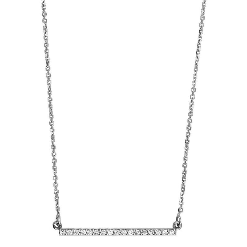 Diamond Bar Necklace, 1 Inch Bar, 0.23CT in 14K White Gold
