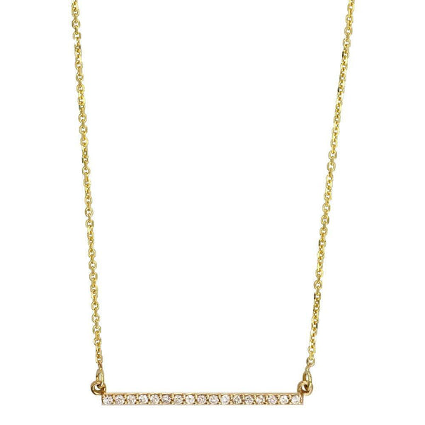 Diamond Bar Necklace, 1 Inch, 0.15CT in 14K Yellow Gold