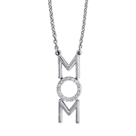 "Diamond MOM Necklace, 0.16CT, 16"" Inch Chain in 14K White Gold"