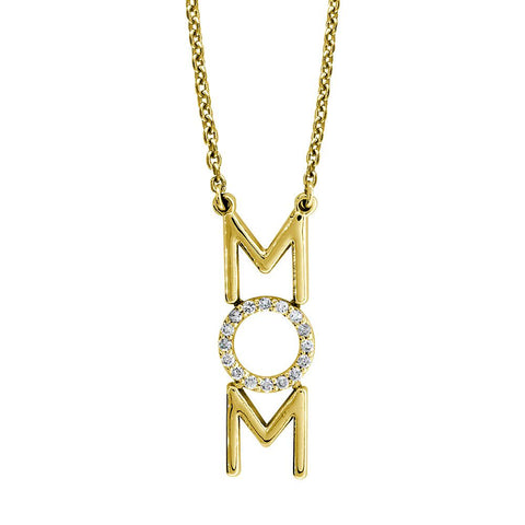 "Diamond MOM Necklace, 0.16CT, 16"" Inch Chain in 14K Yellow Gold"