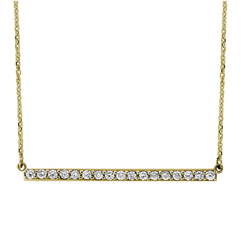 Diamond Bar Necklace, 1.75 Inch, 0.85CT in 14K Yellow Gold