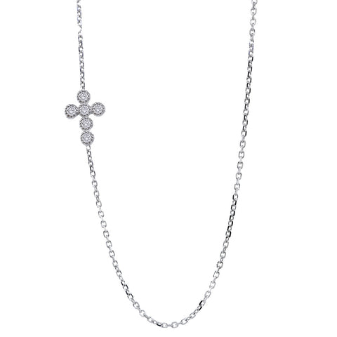 Offset Double-sided Vintage Style Diamond Bezels Cross, 0.40CT, 16 Inches in 14k White Gold