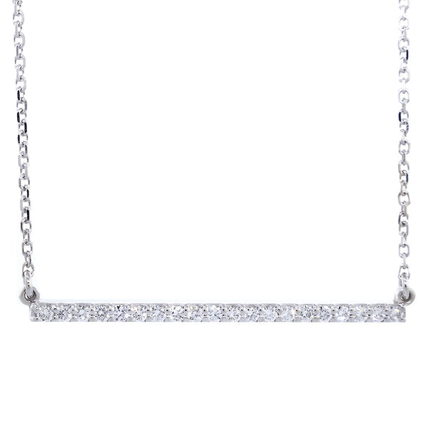 39mm Diamond Bar Necklace, 0.43CT in 14K White Gold