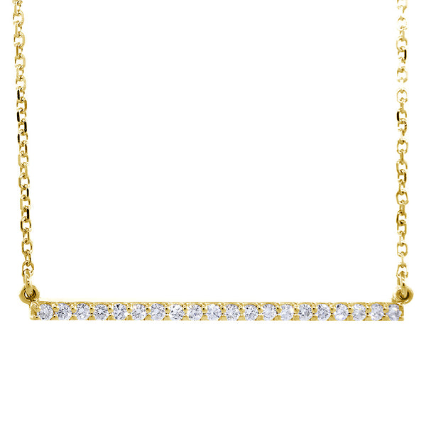 39mm Diamond Bar Necklace, 0.43CT in 14K Yellow Gold