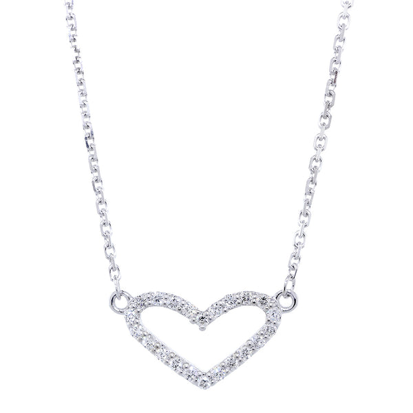 15mm Wide Diamond Heart Pendant and Chain, 0.30CT, 17 Inches Total in 14K White Gold