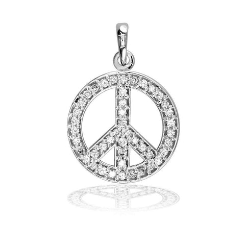 Small Diamond Peace Sign P-0428