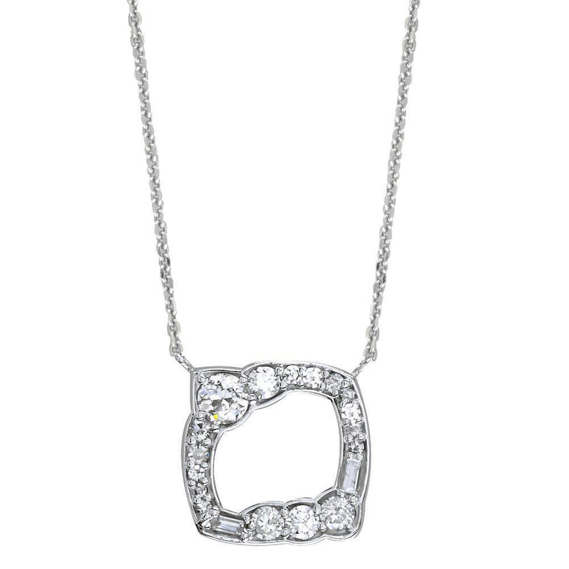 Designer Diamond Pendant and Chain, 1.30CT in 14K White Gold