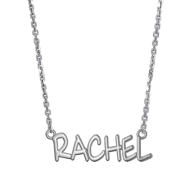 Rachel Name Plate 1 Inch Long in Sterling Silver, 18 Inches Total