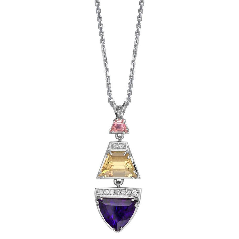 "Designer Diamond and Custom Cut Gemstones Pendant and 16"" Chain in 14k White Gold"