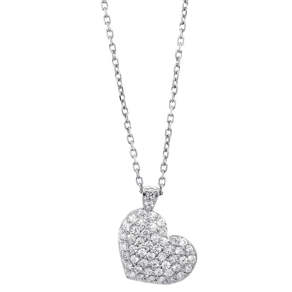 "Small Diamond Heart Pendant and Chain, 1.55CT in 14K White Gold, 16"" Inch Chain"