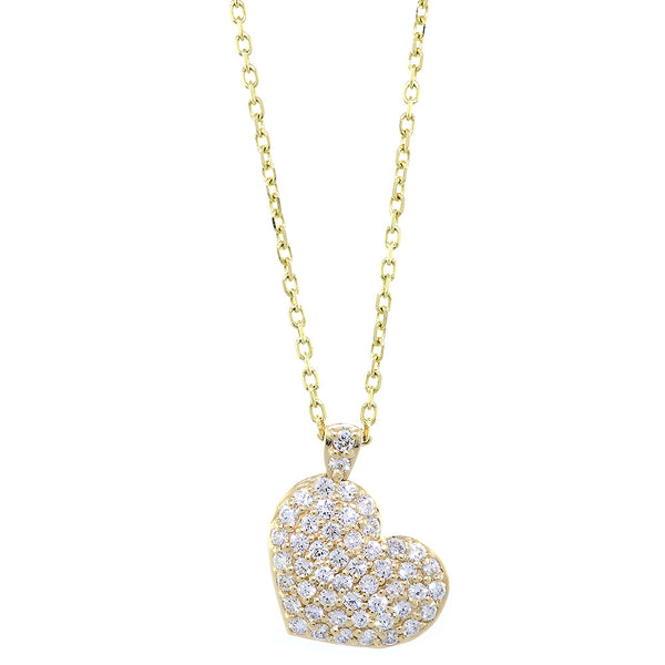 "Small Diamond Heart Pendant and Chain, 1.55CT in 14K Yellow Gold, 16"" Inch Chain"