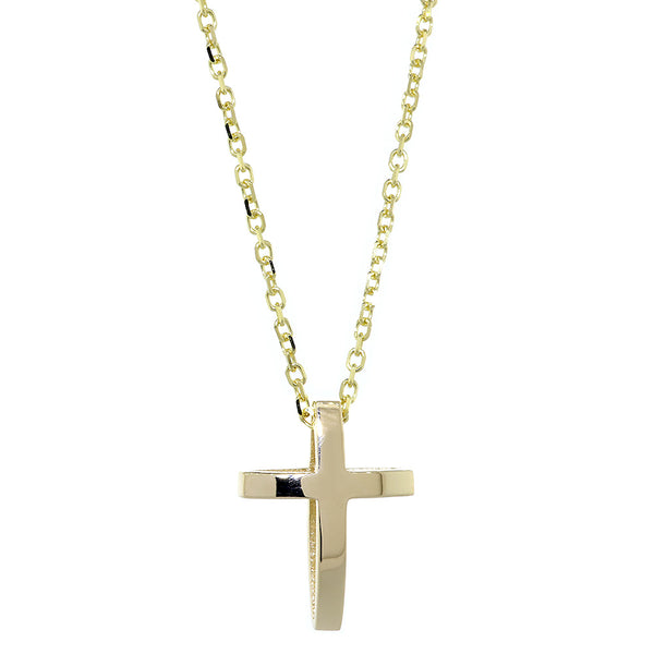 22mm 3D Open Cross Charm and 16 Inch Chain in 14K Yellow Gold