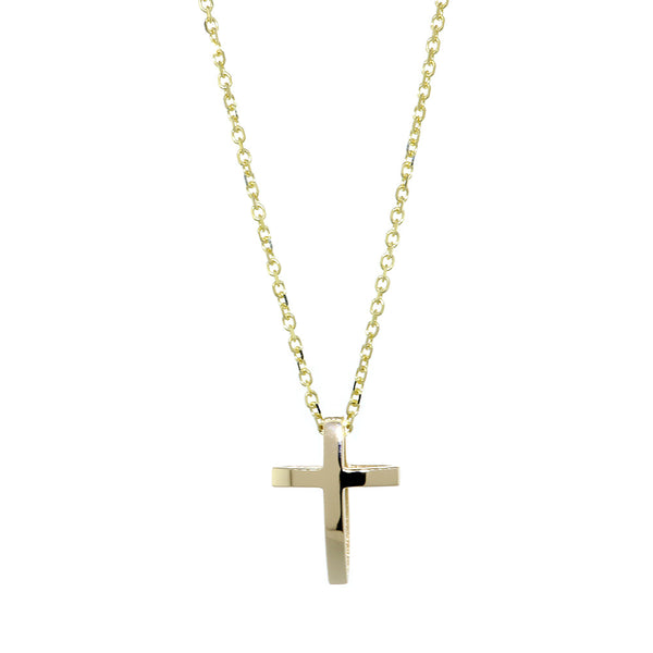 17mm 3D Open Cross Charm and 16 Inch Chain in 14K Yellow Gold