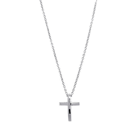 13mm 3D Open Cross Charm and 16 Inch Chain in 14K White Gold