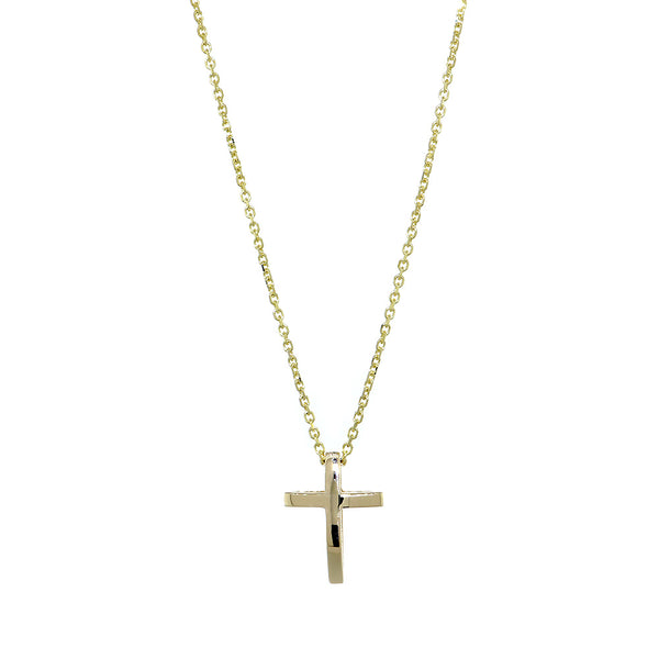 13mm 3D Open Cross Charm and 16 Inch Chain in 14K Yellow Gold