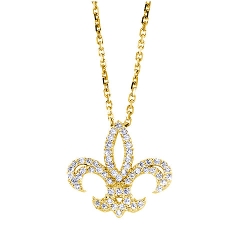 18mm Diamond Fleur De Lis Necklace, 0.60CT, 16 Inches in 14K Yellow Gold
