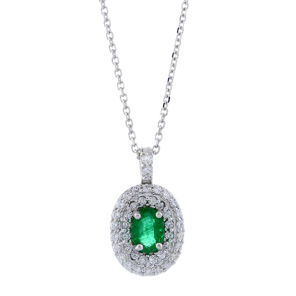 Oval Emerald and Diamond Pendant and Chain, 0.50CT Emerald in 14k White Gold
