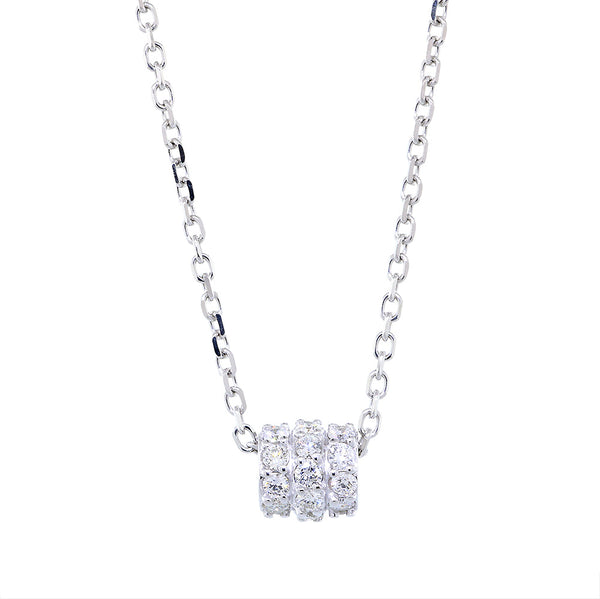Triple Row Diamond Roundel Pendant and Chain, 0.97CT, 16 Inch Chain in 14k White Gold