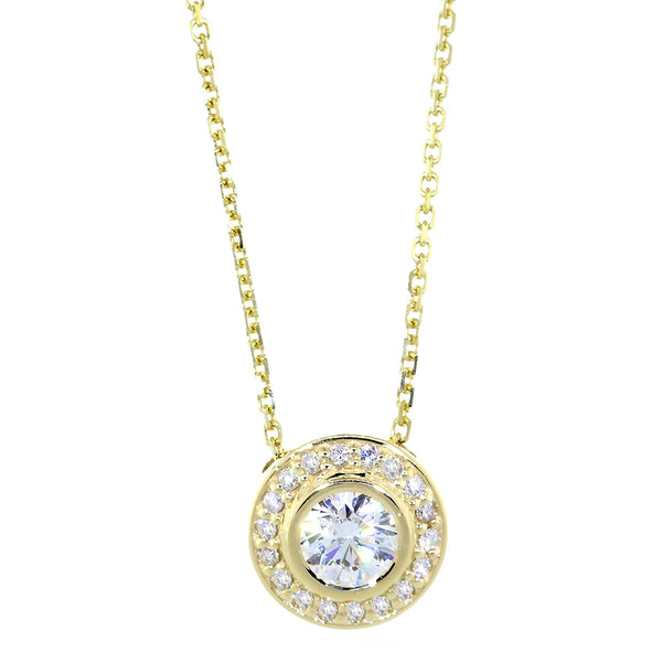 Diamond Halo Semi-Mount Pendant and Chain, 0.30CT, No Center, 18 Inch Chain in 14k Yellow Gold