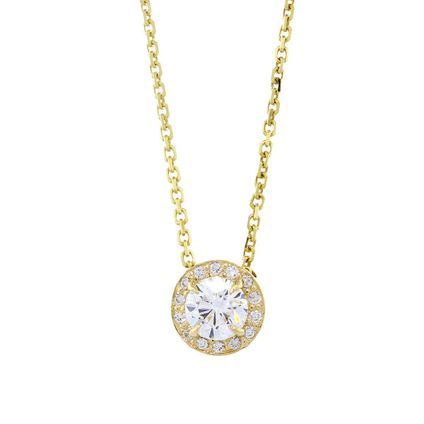 Diamond Halo Semi-Mount Pendant and Chain, 0.20CT, No Center, 18 Inch Chain in 14k Yellow Gold