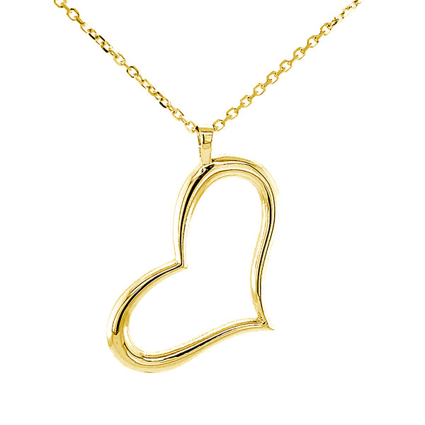 28mm Open, Offset, Wavy Heart Charm and 16 Inch Chain in 14K Yellow Gold