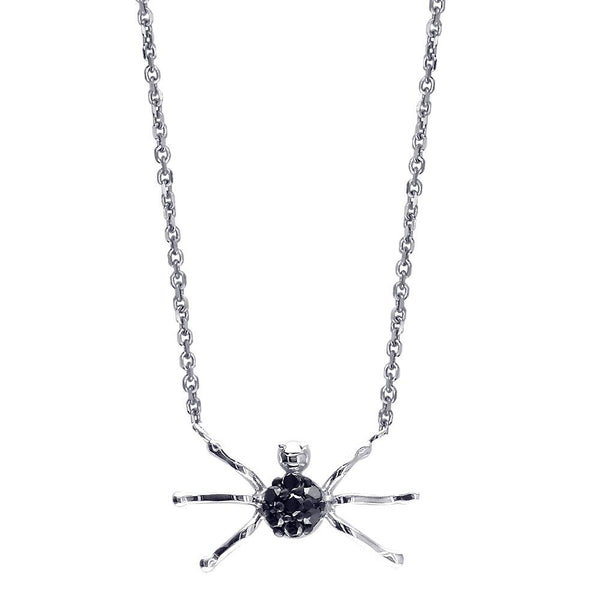 Black Diamond Spider Necklace in 14k White Gold